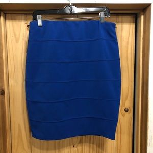 Blue ribbed stretchy skirt